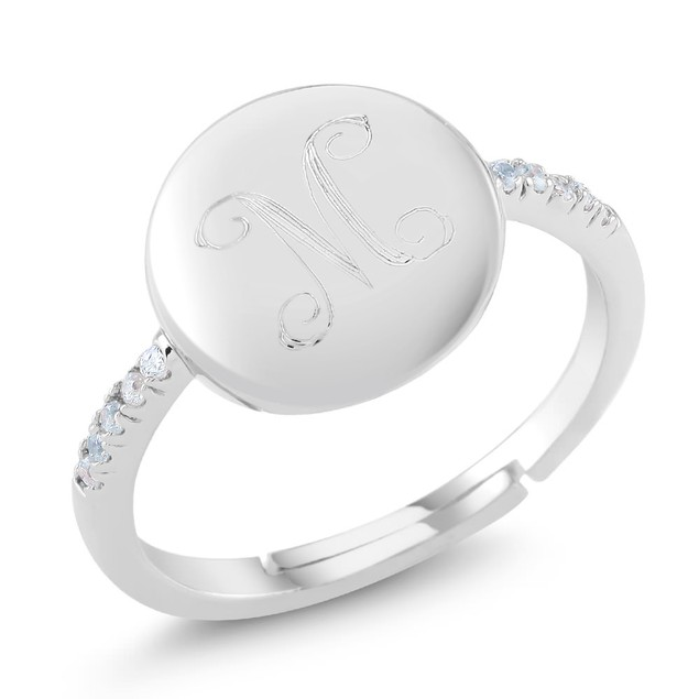 Custom Initial CZ Signet Rings - 3 Colors