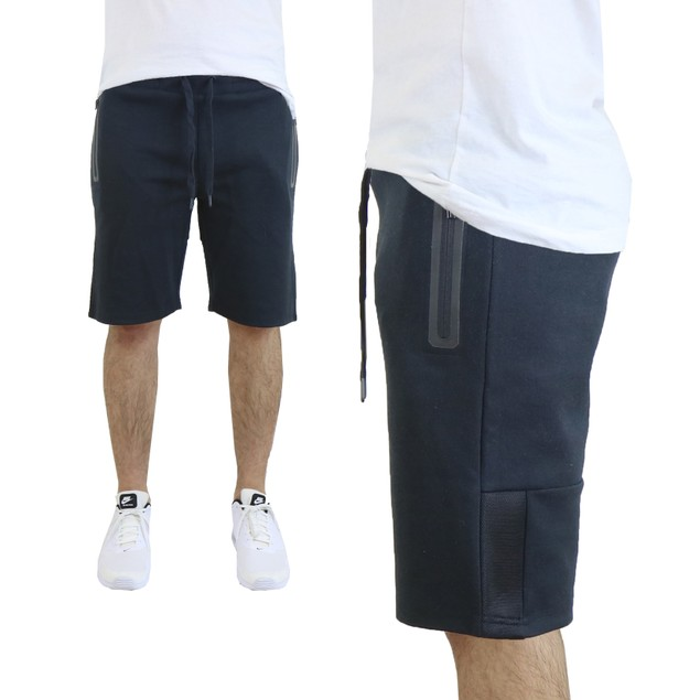 Men's Tech Fleece Shorts With Waterproof Zipper Pockets and Mesh Trim