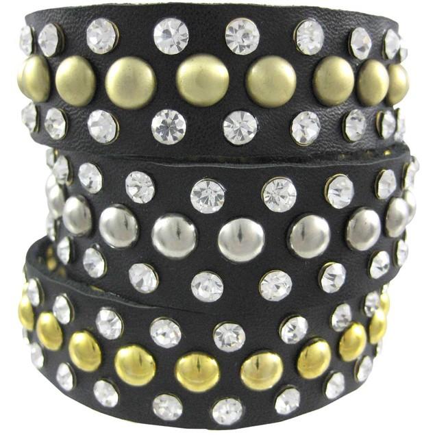 Black Leather Tri-Tone Studded Rhinestone Mens Leather Bracelets