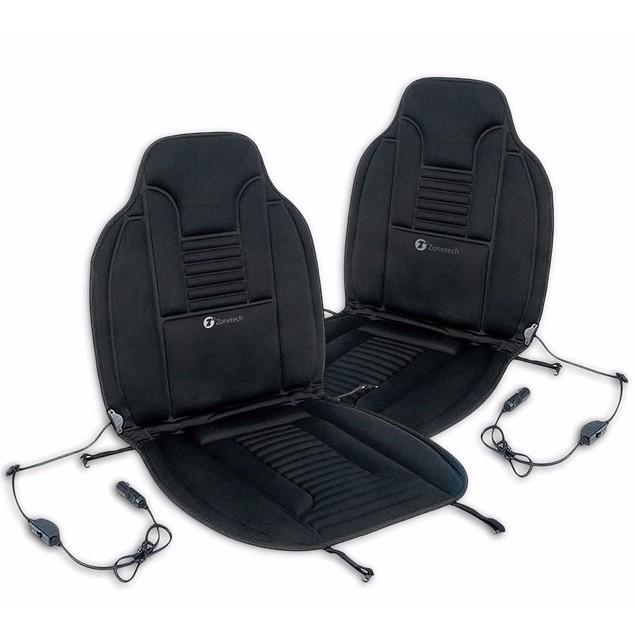 Zone Tech 2x Heated Car Van Seat Chair Cushion 12V Heating Warmer Pad