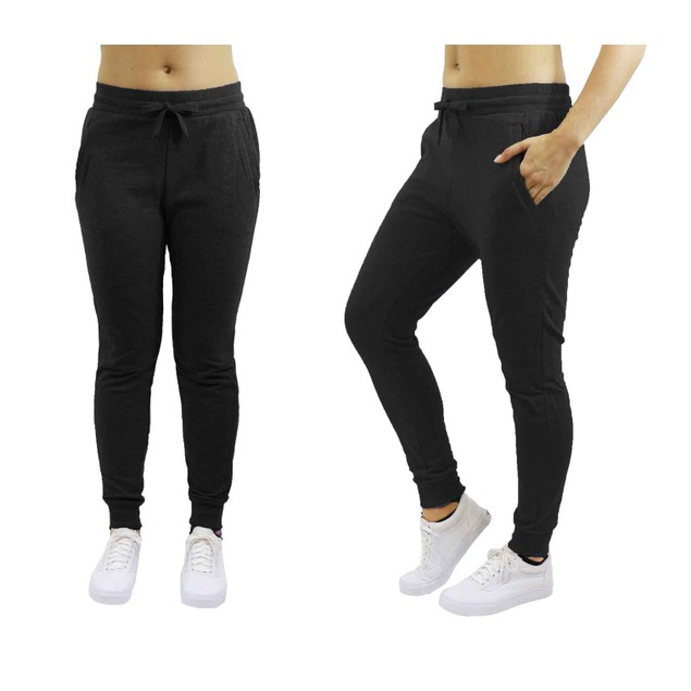 Women's French Terry Skinny-Fit Jogger Sweatpants- Black