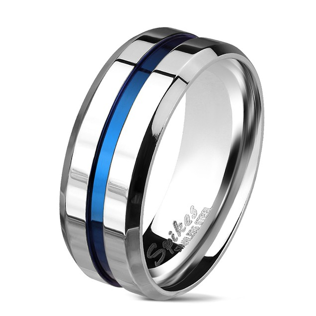 Blue IP Grooved Centered Line Stainless Steel Ring