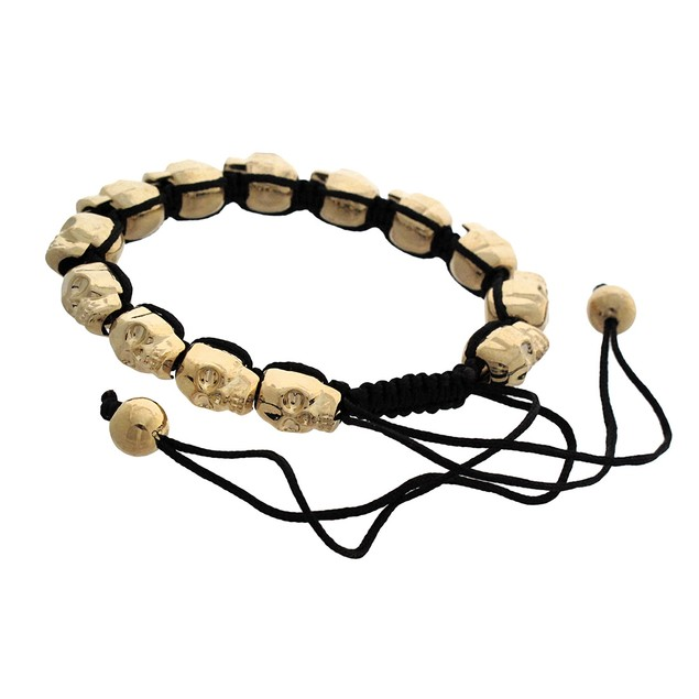 Goldtone 3D Metal Skull Bead Adjustable Nylon Cord Mens Cord Bracelets
