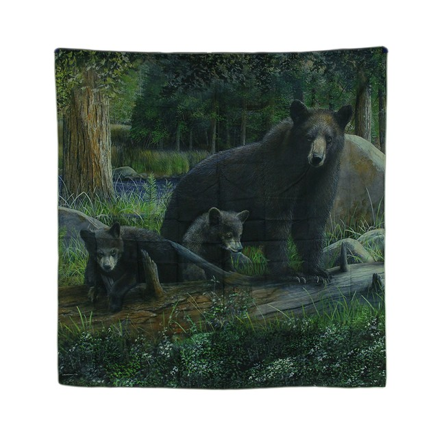 70 In. Black Bear Family Rustic Fabric Shower Shower Curtains