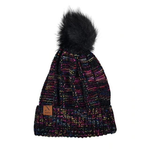 Women's Extra Soft Multicolored Pom Pom Knit Winter Hat