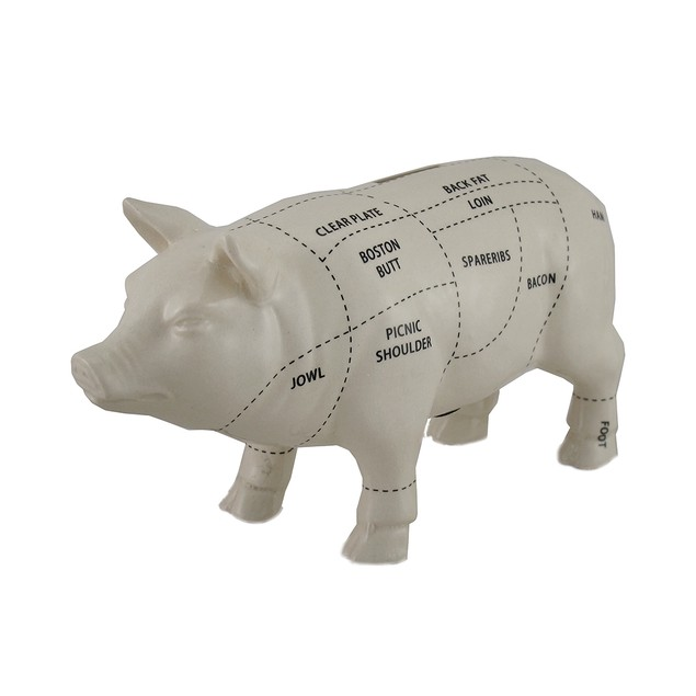 White Ceramic Pig Shaped Coin Bank Butcher Chart Piggy Bank 4 in.
