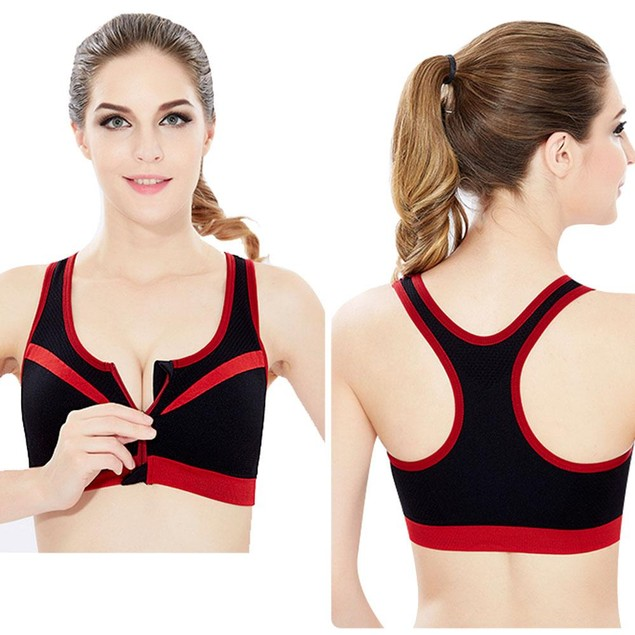 Double-Layer Zip-Front Sports Bra