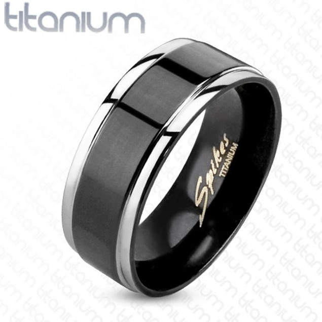 Step Edges With Black IP Center Two Tone Ring Solid Titanium
