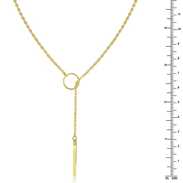 Gold Plated Bar and Circle Lariat Necklace