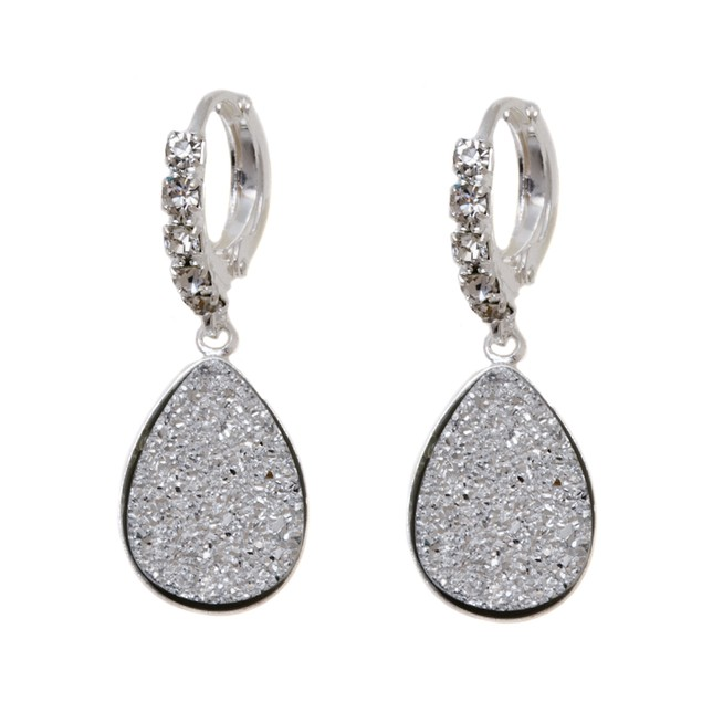 18K White Gold Silver Druzy Crystal and Cubic Zirconia Teardrop Drop Huggie Earrings