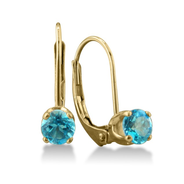 1/2ct Solitaire Blue Topaz Leverback Earrings, 14k Yellow Gold