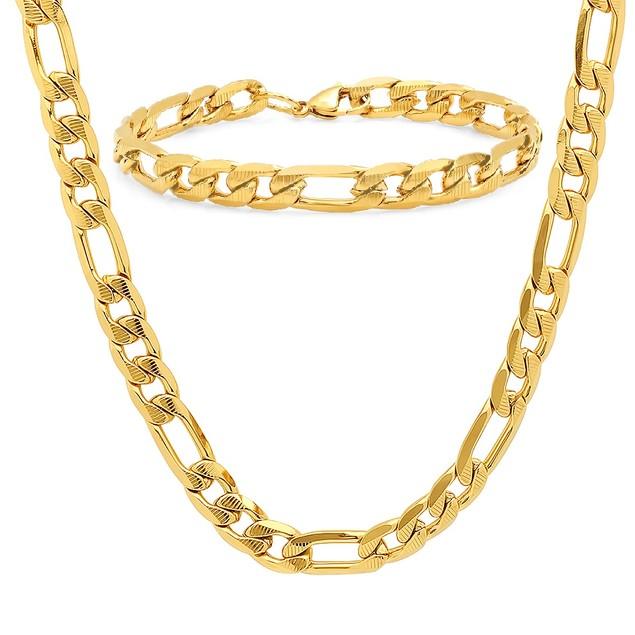 Men's Stainless Steel Figaro Chain and Bracelet Link Set