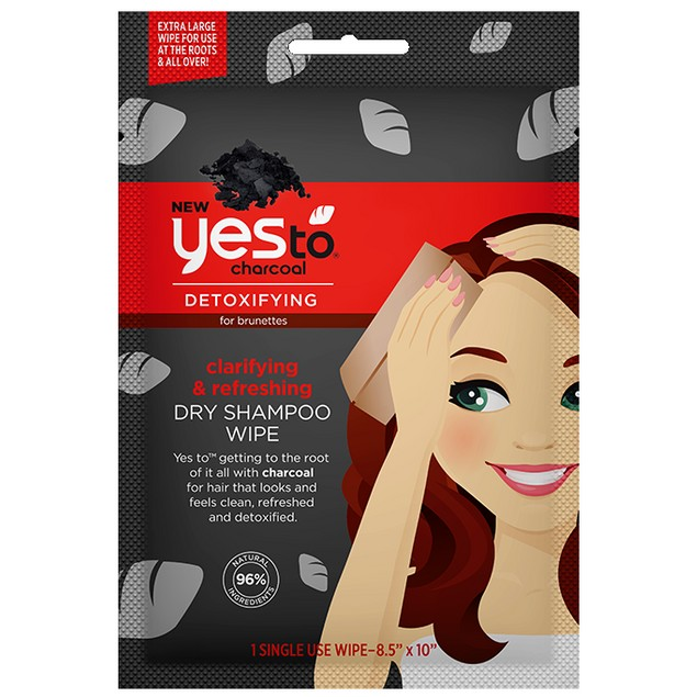 4-Pack Yes To Charcoal Detoxifying & Refreshing Dry Shampoo Wipe