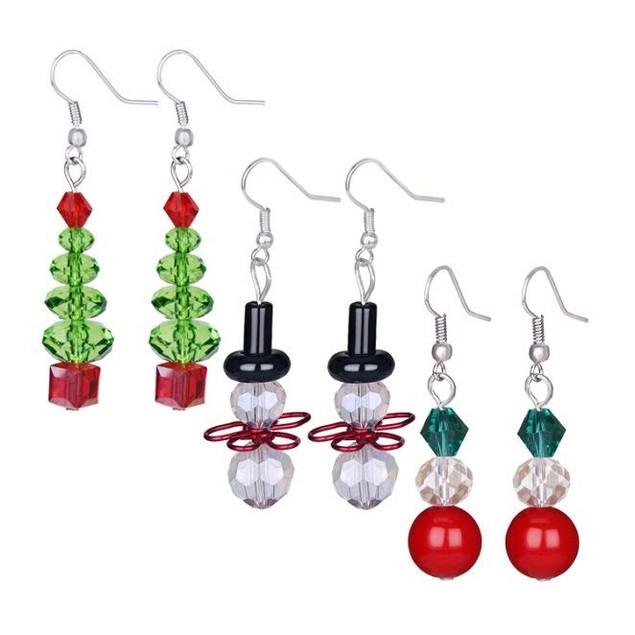 3-Pack Dangle Holiday Earrings