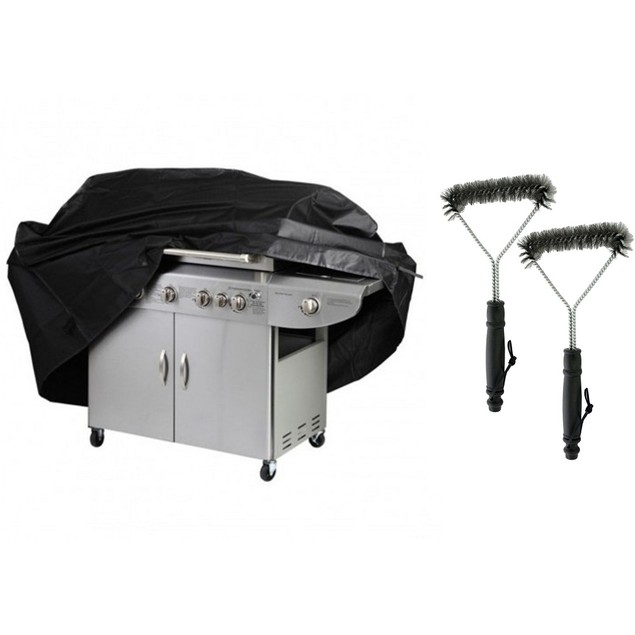 "65"" Heavy-Duty Grill Cover w/ 2 pack Grill Cleaning Brush Set"
