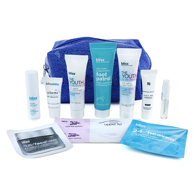 BLISS Blue Sparkle Cosmetic Bag with 10 Travel Size Anti-Aging Essentials