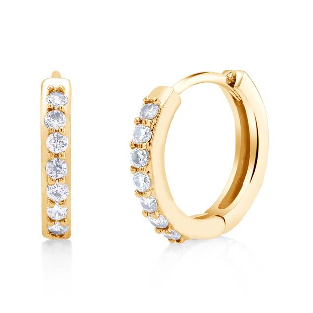 Cubic Zirconia Gold Plated Huggie Earrings