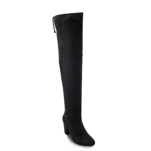 Olivia Miller 'Westbury' Top Back Tie Chunky Heel Over the Knee Boots