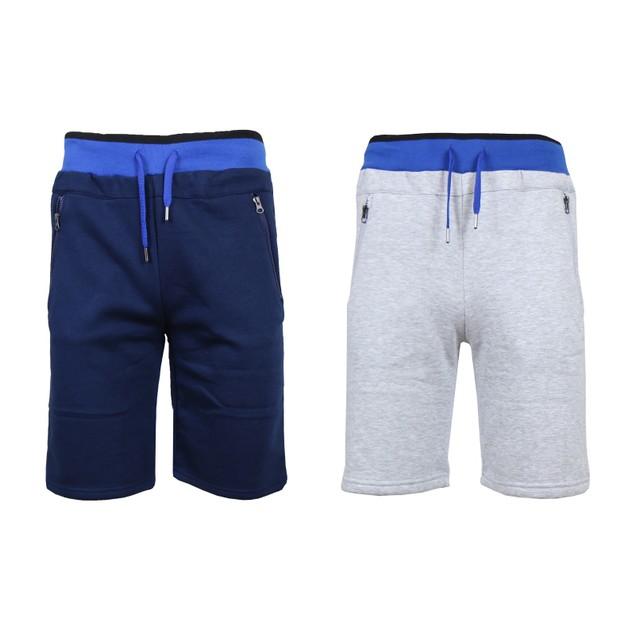 2-Pack Men's Fleece Jogger Shorts with Zipper Pockets (S-2XL)