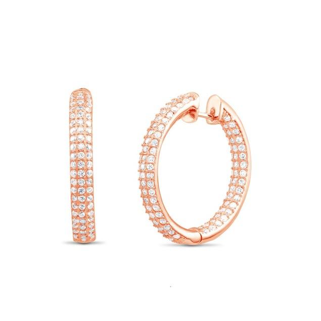 18kt Rose Gold Micro Pava Cubic Zirconia Hoop Earrings