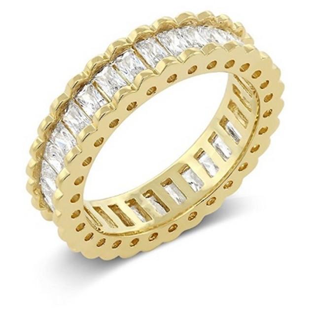 18kt Yellow Gold Princess Cut Eternity Band Ring