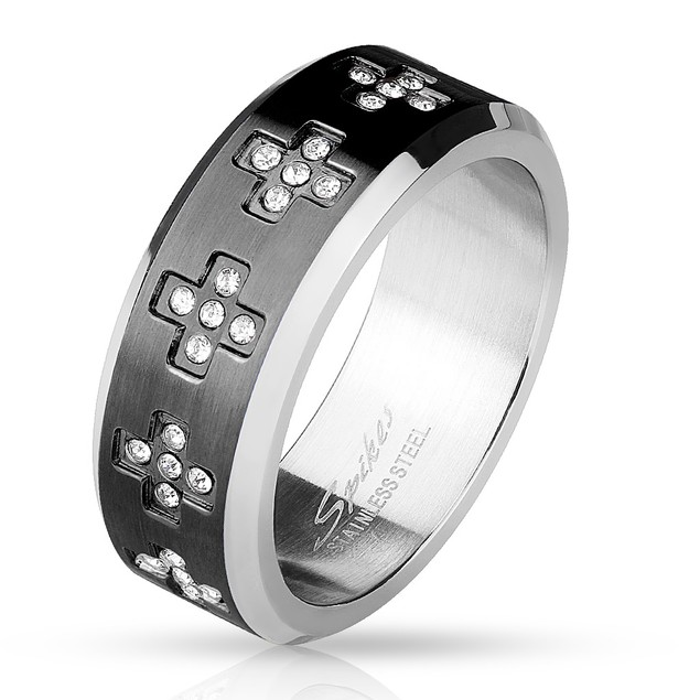 CZ Set Cross Around Stainless Steel Ring - 3 Colors
