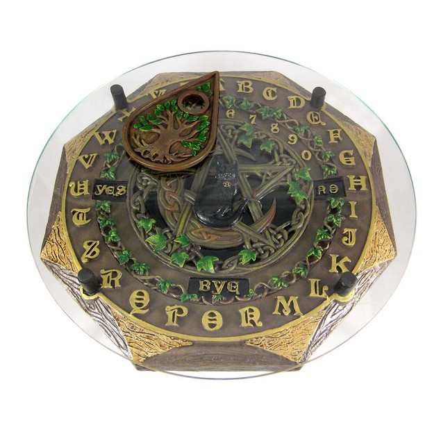 Black Cat Crescent Moon Pentacle  Glass Top Spirit Occult Fortune Telling