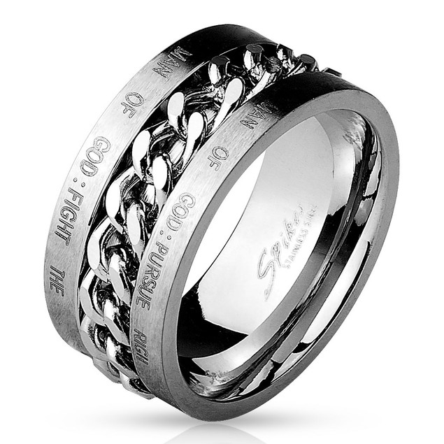 Chain Spinner Center with Bible Words Engraved 316L Stainless Steel Ring