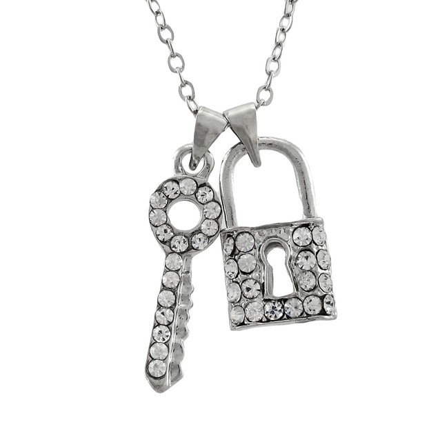 Dainty Rhinestone Lock And Key Necklace Pendant Necklaces