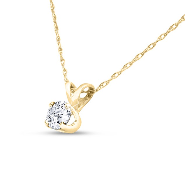 14k Yellow Gold 1/4 Carat Genuine Diamond Solitaire Necklace