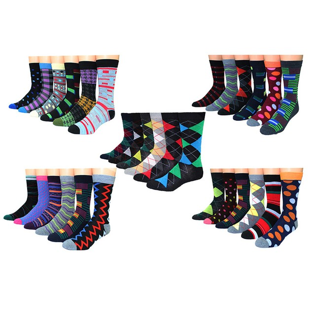 30-Pairs Premium Collections Men's Colorful Dress Socks