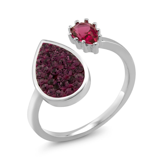 Colored Crystal Bypass Pear Ring - 5 Colors