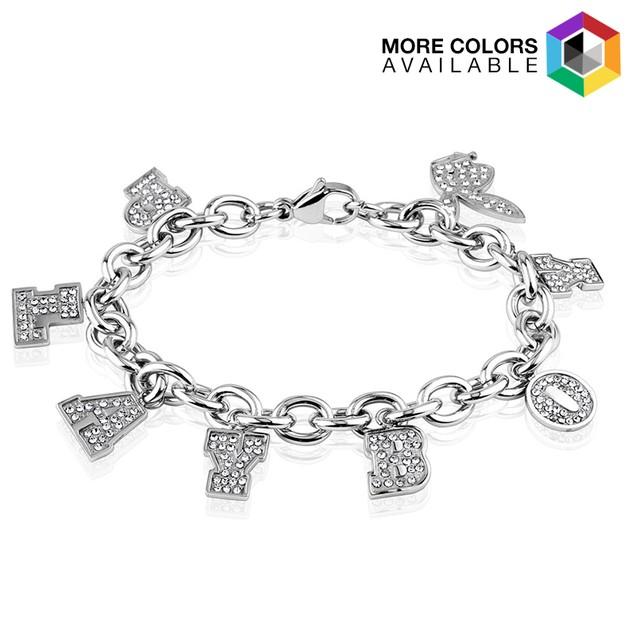 Playboy Gems Stainless Steel Charm Bracelet