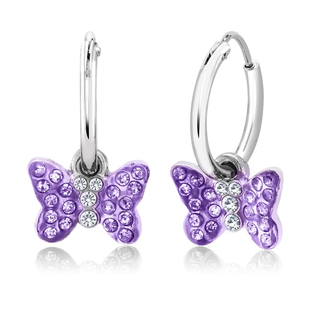 Crystal Drop Butterfly Earrings - 4 Colors