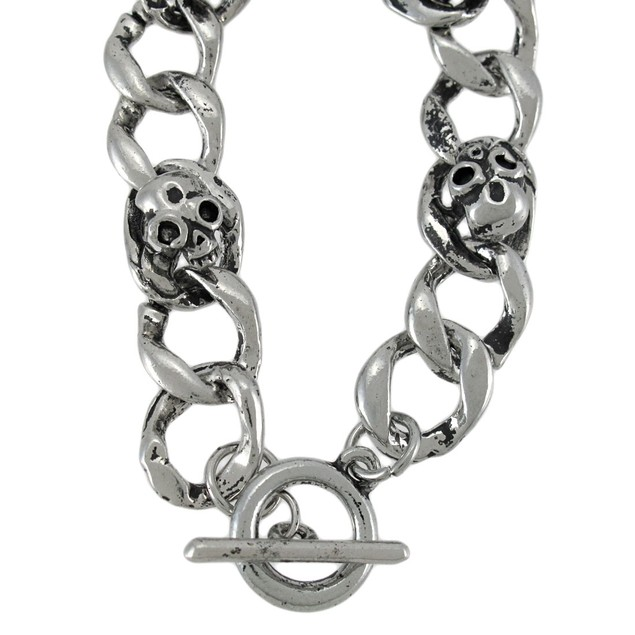 Curb Chain Link Bracelet With Skulls And Toggle Mens Chain Bracelets