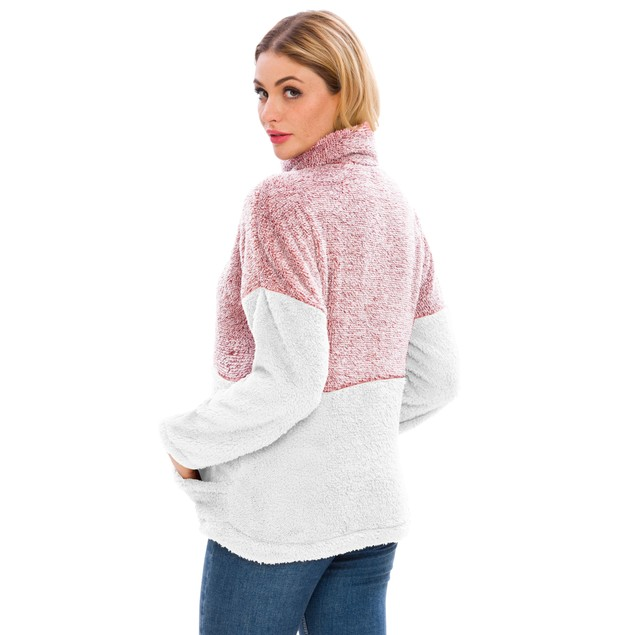 Lilly Posh Two Tone Plush Pullover with Pockets
