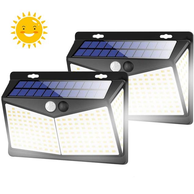 2-Pack Solar Lights Outdoors 208 LED/3 Modes, Security Motion Sensor Lights