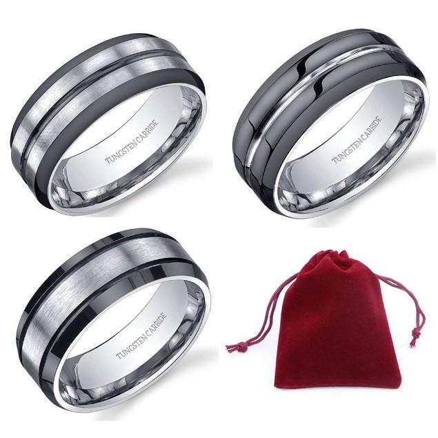 Men's Tungsten Carbide Ring w/ Gift Pouch - 6 Styles