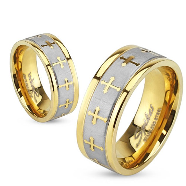 Celtic Cross Gold IP Stainless Steel Ring with Brushed Center Two Tone Ring