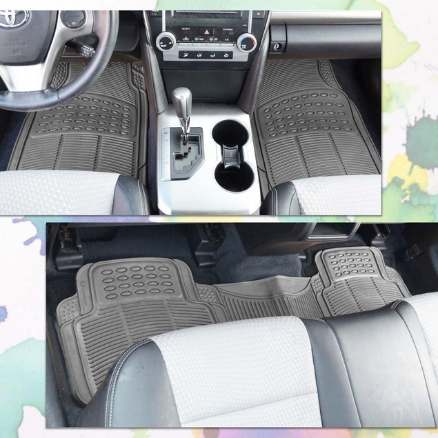 Zone Tech Set of 3 Piece Heavy Duty Car Vehicle Gray Rubber Floor Mats