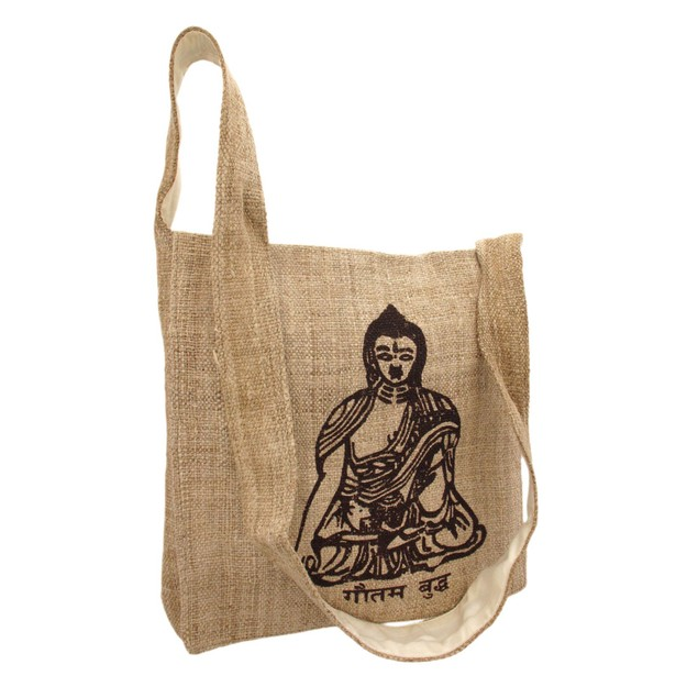 Natural Color Hemp Bag With Buddha Mens Cross Body Bags