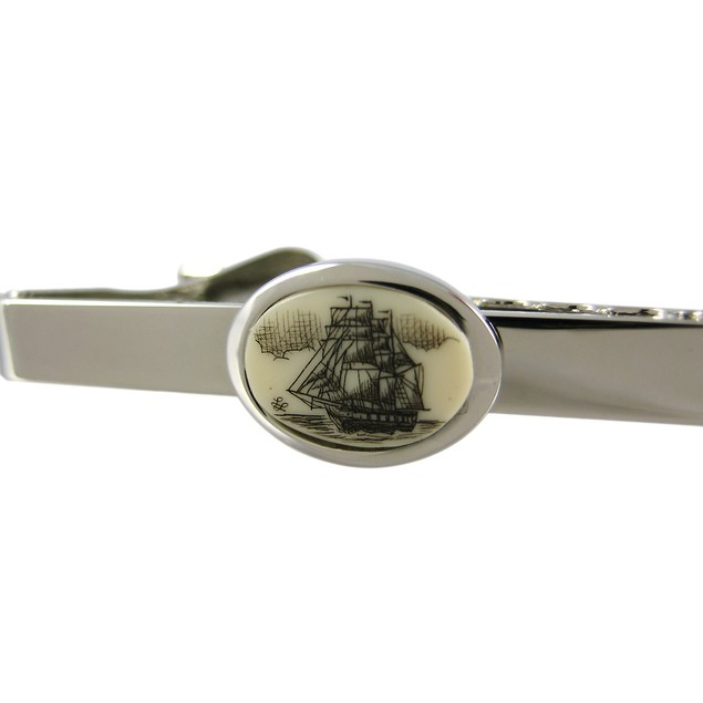 Stainless Steel Scrimshaw Tall Ship Tie Bar Clip Mens Tie Bar