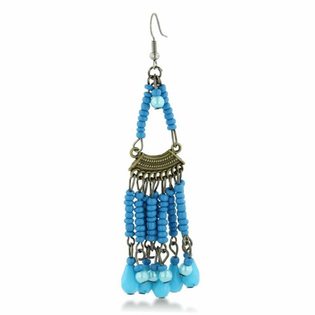 Chandelier Earrings with Turquoise Colored Beads
