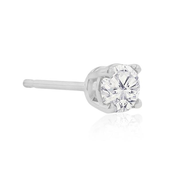 Certified 1/4ct Natural Genuine Diamond Stud Earrings In 10 Karat White Gold