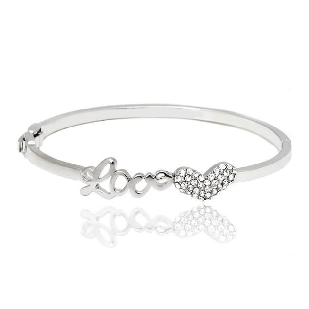 Silver & Swarovski Elements Love Heart Bangle Bracelet