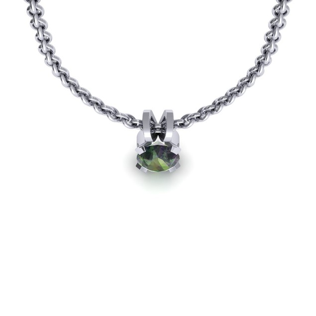 1.29cttw Oval-Cut Mystic Topaz Necklace & Earring Set In Sterling Silver