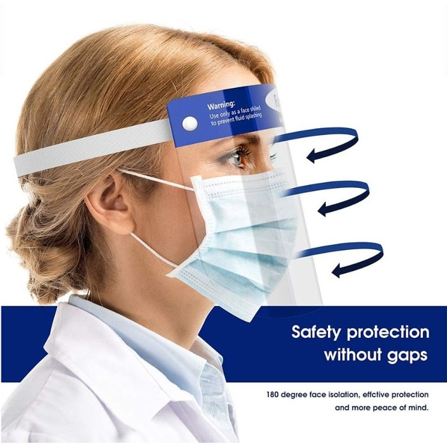 10-Pack Full Face Protective Clear Protective Face Shields
