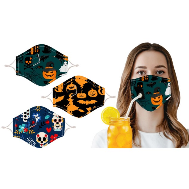 3-Pack Halloween Special Reusable Face Mask with Drinking Straw Hole