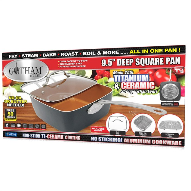 "Gotham Steel Gotham Steel Nonstick 11"" 4-Piece Deep Square Pan Set Copper"