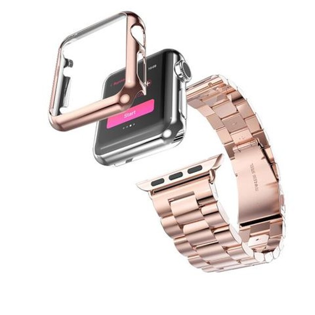 iPM Stainless Steel Watch Band with Plated Slim Case for Apple Watch